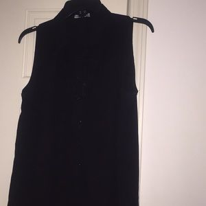Button Down Collared Black Sleeveless Blouse